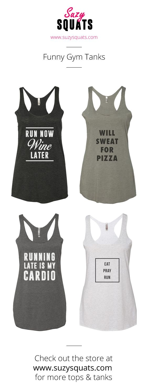 Suzy Squats funny running tank tops, perfect to wear during your next run or as a gift for a running loving friend! You can find more funny workout clothing for running at the Suzy Squats store by clicking the link above.