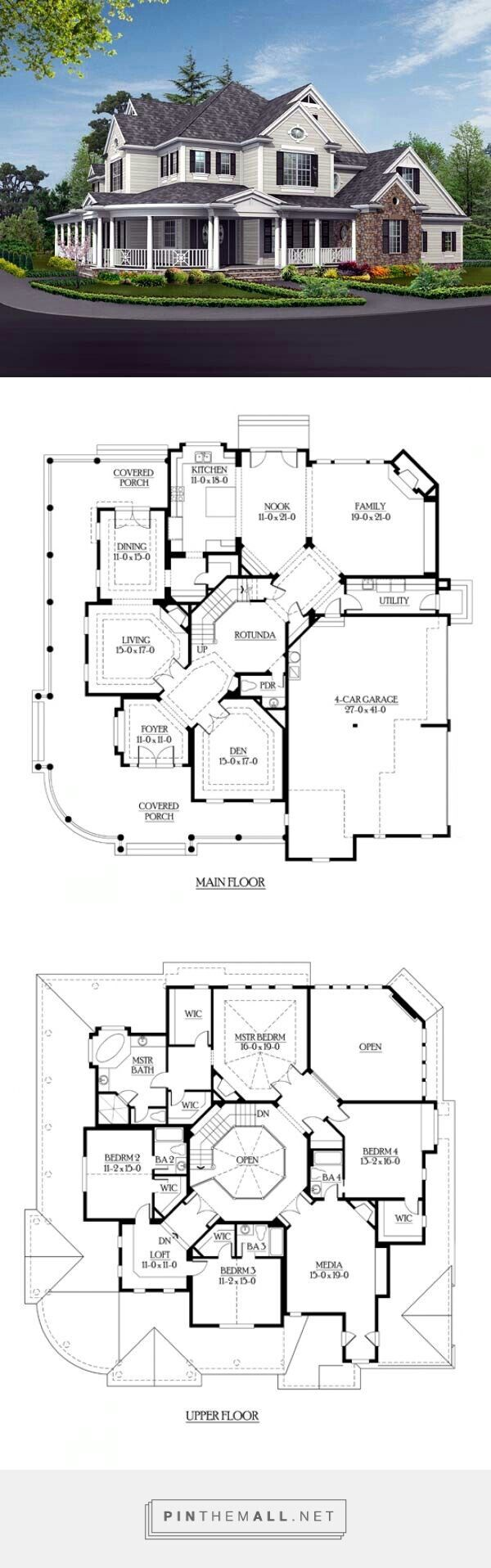 Modern Victorian: love second floor office area and media room. Would close off second level of family room to create a parlour.