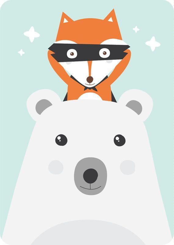 Notre carte d'invitation pour anniversaire Petit Renard et Joli Ours | Référence : ALBERT-CA-003 pour votre enfant.  Format : DIN-A6 (105 x 148