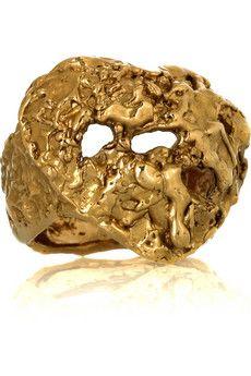 Yves Saint Laurent Lingot 5-karat gold-plated heart ring | NET-A-PORTER