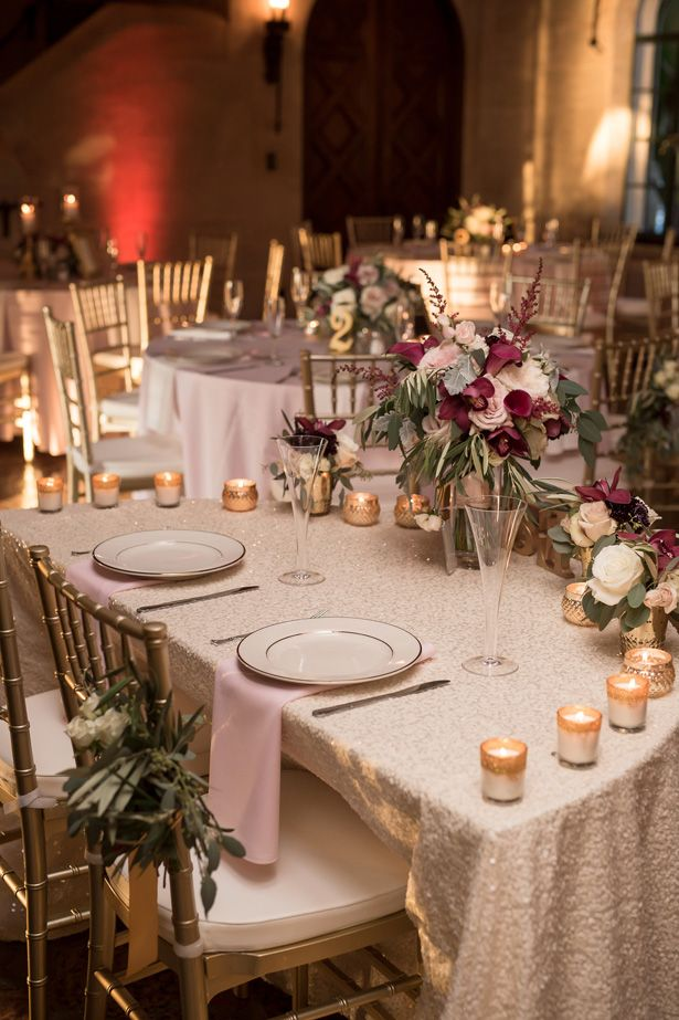 A Classic Burgundy Wedding Filled With Glamour And Romance Gold Wedding Reception Gold Wedding Decorations Receptions Burgundy Wedding