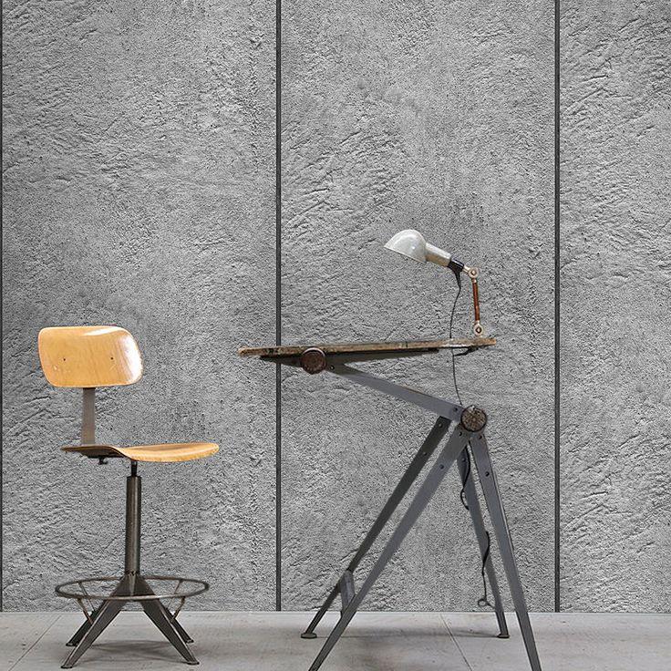 Lime' Concrete Panel Effect Wallpaper | Grey & Black
