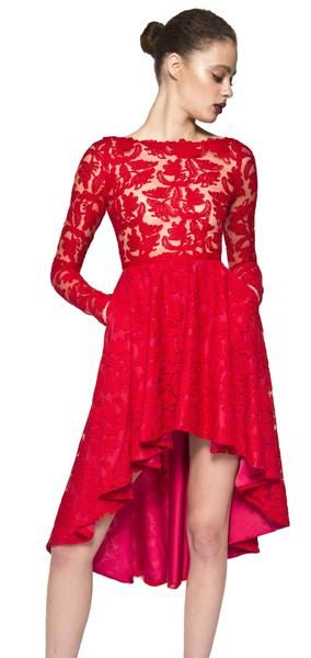 Lace high low cocktail dress with pockets. The Adair dress is made of a  bold red lace embellished fabric.This long sleeve dress is designed to be fitted at the bust and waist.It features a high low hem and pockets, making this cocktail dress beautiful and  practical. #evening #cocktail #highlowhem ##floral #red #lace #NARCES