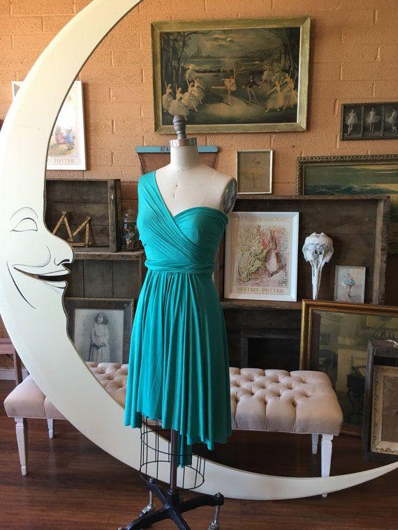 Laguna Pool Turquoise Blue Short Infinity Wrap Dress