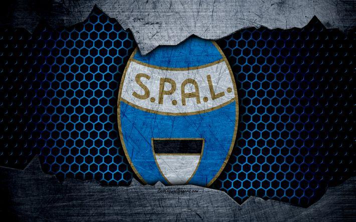 تحميل خلفيات Spal, 4k, الفن, دوري الدرجة الاولى الايطالي, Spal فيرارا, كرة القدم, شعار, نادي كرة القدم, Spal FC, الملمس المعدني