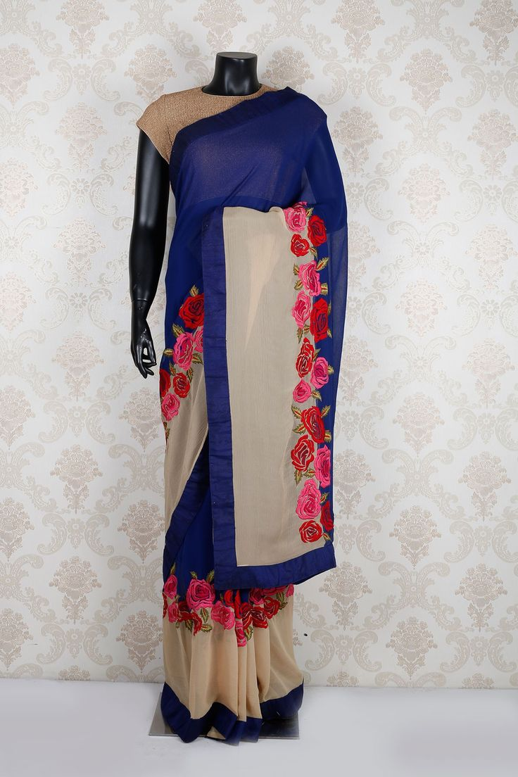 #Peacock #blue multicolored tussar silk mesmerized #saree with navy blue border -SR11917