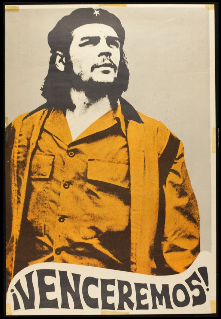 An iconic picture of Che Guevara. The style of typography at the bottom hints at when it was designed.  ¡Venceremos! (We Shall Overcome!) poster, unknown artist, around 1970. Museum no. E.685-2004
