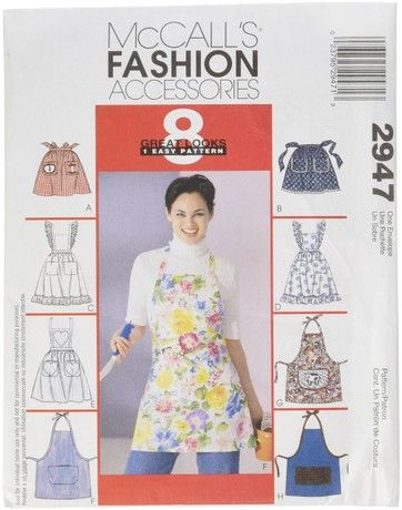McCall's Patterns M2947 one Size Only Misses' Aprons, Pack of 1, White