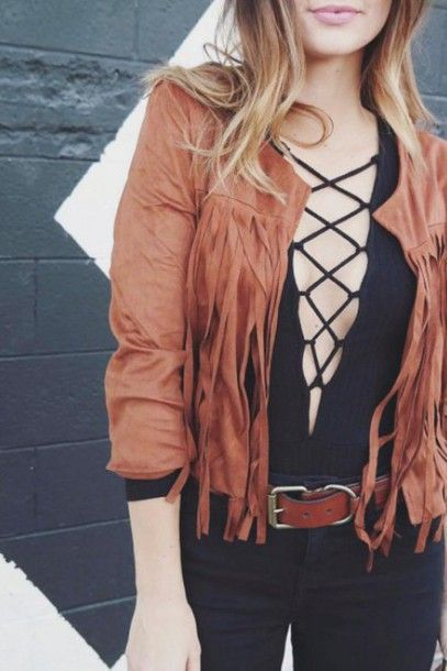 Idée Tenue Day to night : Jacket: style classy fringes lace up streetwear blouse zaful girl streetstyle indie stylish chic