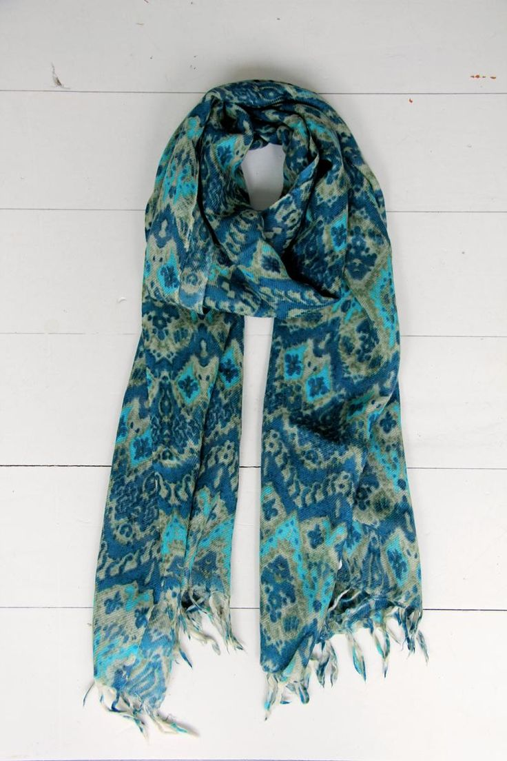 Wool Scarf - Blue/Cream | humidity DESIGN