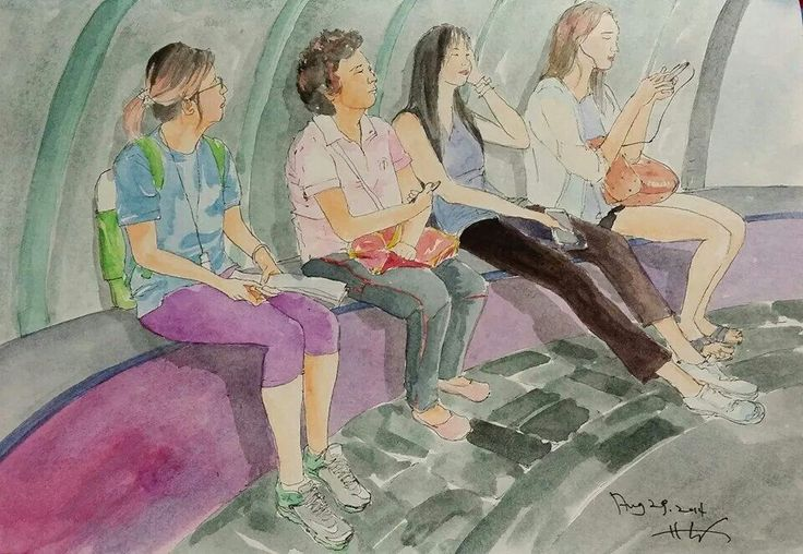 women waiting for next bus