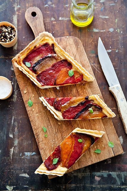 Tartelette: Comforting Recipes: Quinoa, Watermelon & Feta Salad, Roasted Pepper & Ricotta Tart, Peach & Nectarine Granita