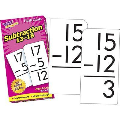 Skill Drill Flash Cards: Subtraction 13-18 by Trend. $11.10. Further develop children's subtraction skills. Great for test prep and review. Cards are self-checking, colorful, durable, and feature rounded corners for quick sorting. 99 cards.