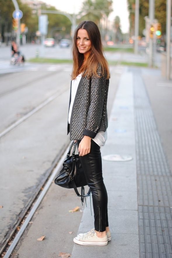 white converse  + cute jacket + leather pants/leggins