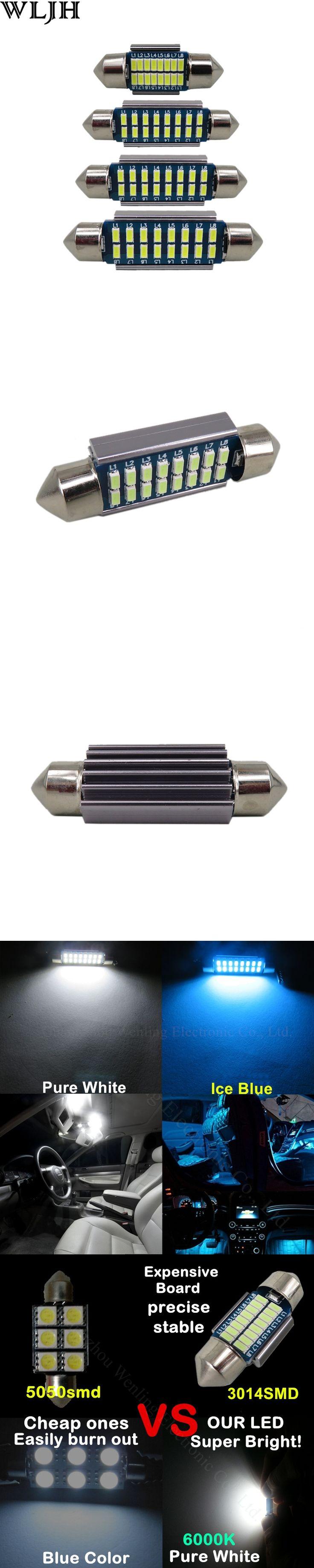 WLJH 4X Canbus Bulb No Error 31mm 36mm 39mm 42mm SV8,5 C10W C5W Led 12V SMD 3014 Auto Lamp Lighting Car Interior External Light