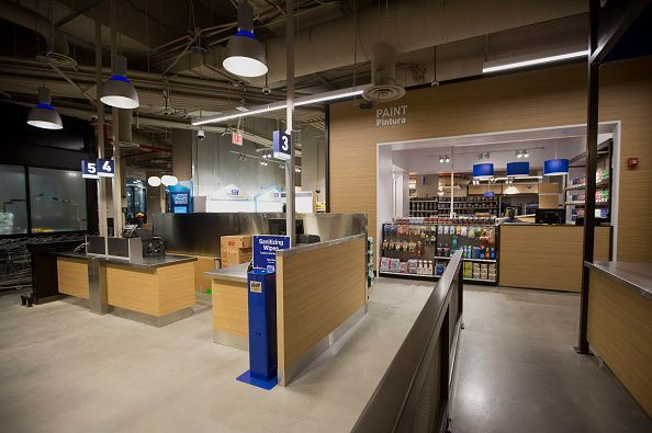Checkout registers stand inside the Lowe's Cos. store in New York, U.S., on Thursday, July 30, 2015. Lowe's will open a store that's just 30,000 square feet (2,800 square meters) -- a quarter the size of its suburban home-improvement centers. The new location represents the company's first foray into Manhattan, but more notable is its role as a testing ground for Lowe's next growth engine: cities. Photographer: Michael Nagle/Bloomberg via Getty Images #lowe'shomeimprovementlocations,