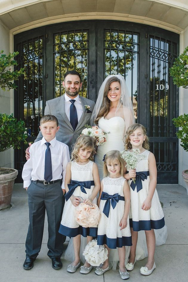 Classic and cute attire for the little ones // Intimate Navy and Peach DIY Wedding // Anita Martin Photography
