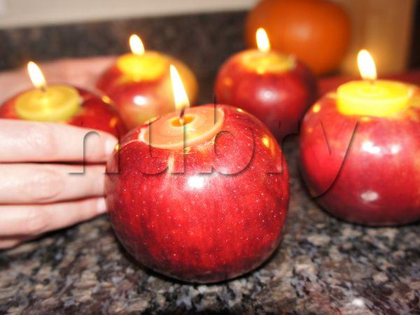 DIY-Halloween-Decorations-Apple-Candles