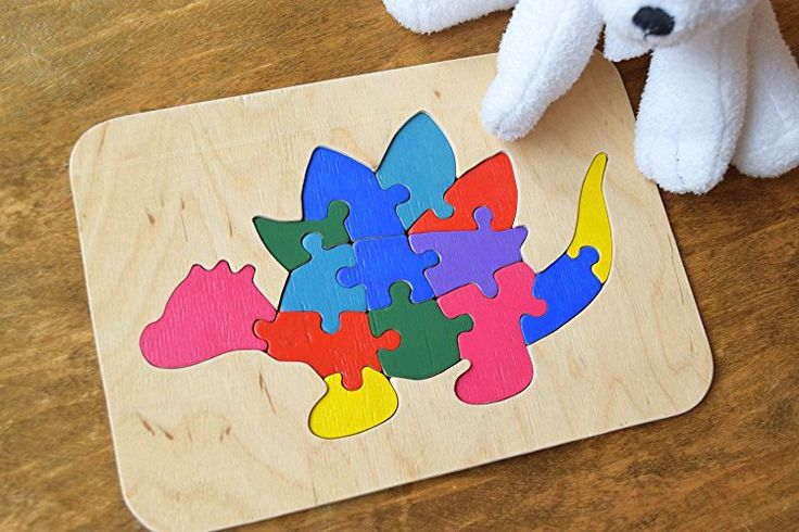 Wood puzzle Dinosaur Stegosaurus Montessori Toy Dino wooden educational animal baby Toys wooden puzzles Baby Shower Gift Organic kids game Waldorf learning game sorting toys Stacking