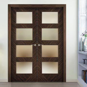 Sanrafael Lisa Glazed Double Door - Model K11VA4 Reconstituted Ebony Prefinished. #internaldoubledoors #internaldoors #doubledoors