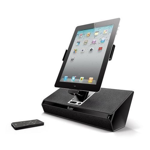 iLuv iMM727BLK ArtStation Stereo Speaker Dock with Remote for the Apple iPad 3-3G / iPad 2 WiFi/3G Model 16GB, 32GB, 64GB EST Model for Apple iPhone 4, iPhone 4S and iPod Touch -Black. Flexible viewing options; innovative arm tilts and rotates. Charge and play your iPad, iPhone or iPod with impeccable stereo sound. Sync with iTunes on your computer when docked. Easy to use on unit controls, or use the included remote. Made for iPad2, iPad, iPhone 4, iPhone 3GS, iPhone 3G, iPhone, iPod…
