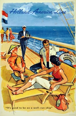 Holland America Cruise Ship Line, 1950s - original vintage poster listed on AntikBar.co.uk