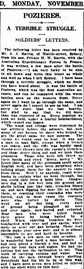 """WWI, 6 Nov 1916, letter Pt H W Harris; """"We found that many of the prisoners could speak English well"""" - The Sydney Morning Herald, NSW"""