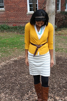 mustard & grey stripes skirt: Mustard Cardi, Grey Stripes, Boots Pop, Cardi Black, Brown Boots, Black Tights, Gray Stripes