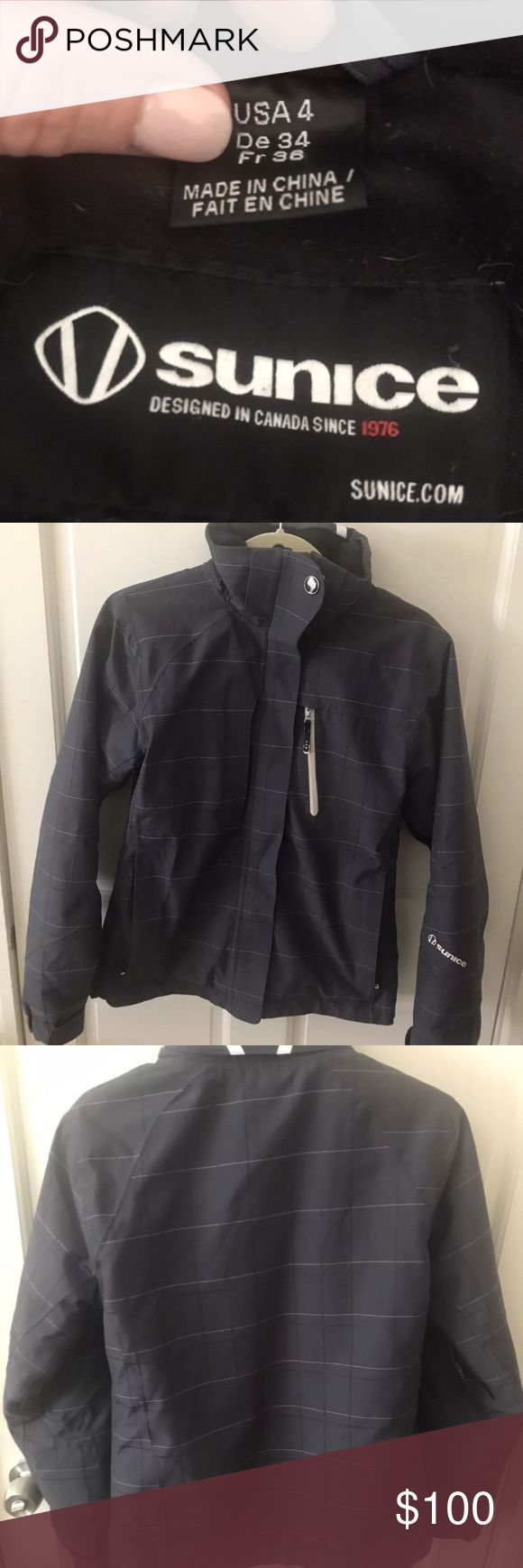 Sunice Ski Parka / Jacket size 4 Sunice ski parka. Excellent condition. For reference I'm 5'3 and 125 lbs. (see pic). My torso is on the long side and the jacket is still the perfect length.   This brand is comparable to Patagonia, North Face, Marmot, Mountain Hardwear. Original cost was $375. sunice Jackets & Coats