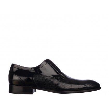 Pantofi Mario Ferretti negri, din lac