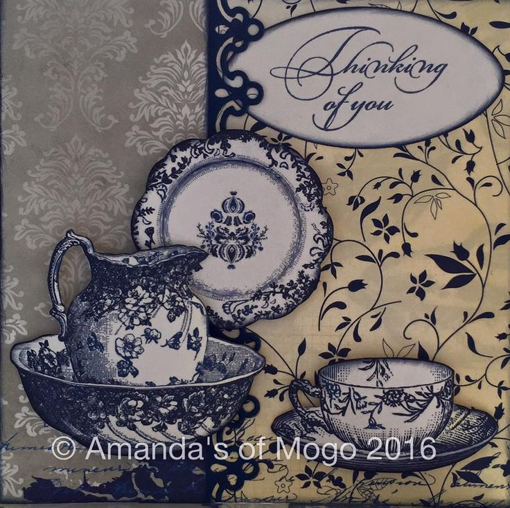 Gorgeous card created by Amanda from Amanda's of Mogo #amandasofmogo #handmade #mogo #cardmaking #papercraft #BoBunny #genevieve #blueyellowgrey #teacup