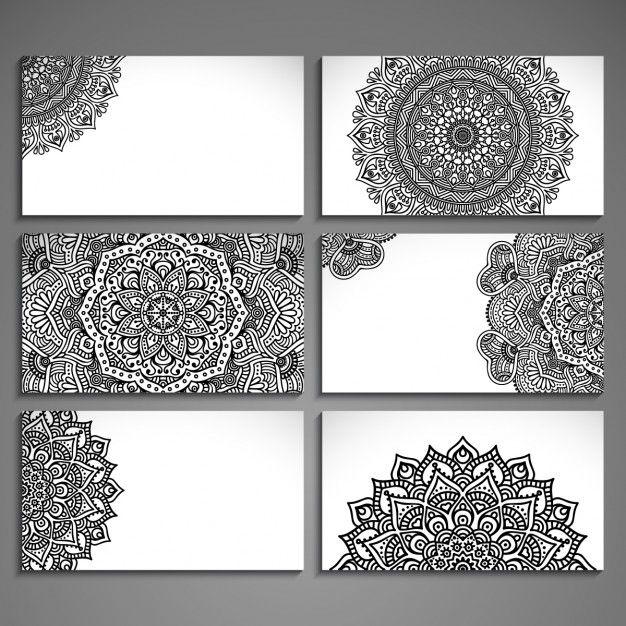 Surtido de tarjetas con dibujos abstractos étnicos  Vector Gratis