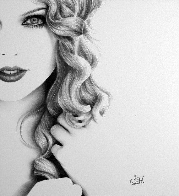 Taylor Swift  Pencil Drawing Fine Art Portrait Glamour Beauty  Print. Ileana Hunter.