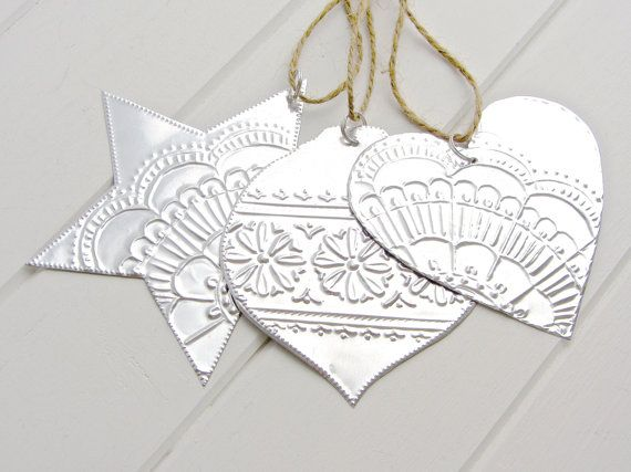 Christmas Star Ornaments, Silver Mexican Tin, Boho Decorations