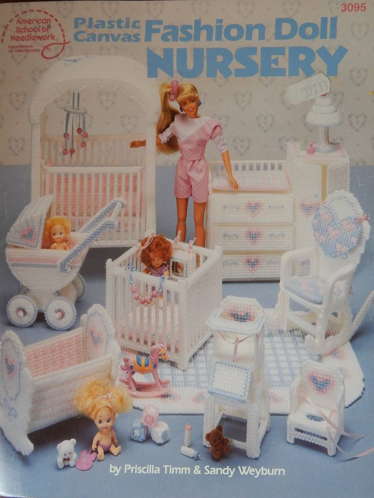 "Fashion Doll Nursery Plastic Canvas Pattern For 11.5"", 2.5"", 3.5"" Dolls/ American School Needlework 3095/ Furniture Baby's Room/Slight Odor by RedWickerBasket on Etsy"