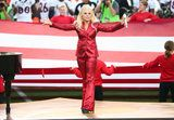 Lady Gaga Wears a Suit You Won't Forget to Sing the National Anthem