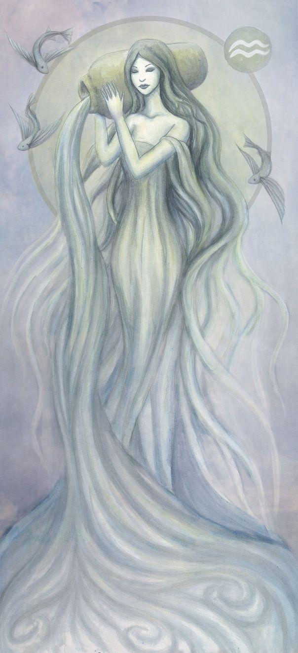 Aquarius WIP by ~Evanira on deviantART, love the flying fish