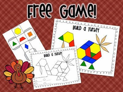 """Build a Turkey"" (free in preview file for Thanksgiving Math & Literacy Center from Mrs. Ricca's Kindergarten)"