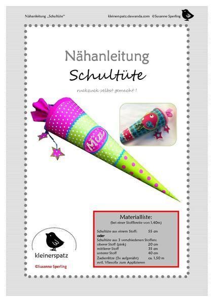 Nähanleitung, Schultüte von kleinerspatz auf DaWanda.com