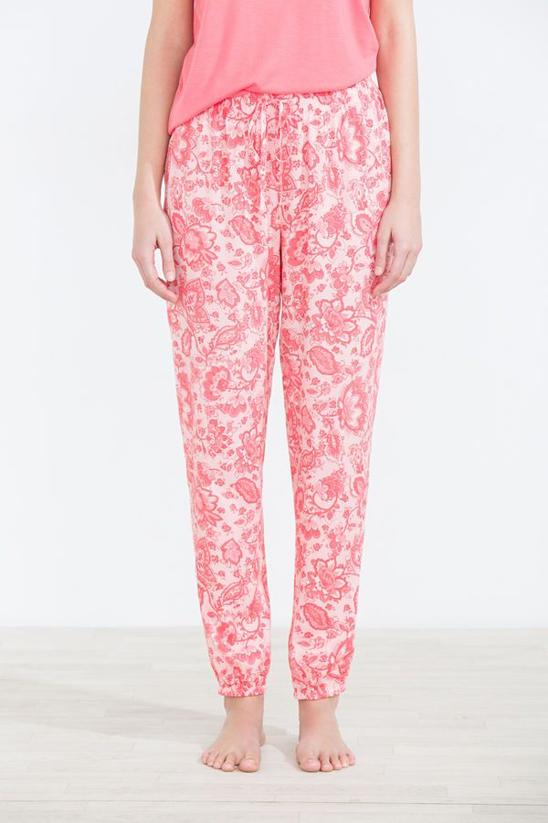 Long trousers with paisley print, pink, hi-res