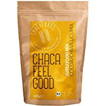 Veganes Bio Superfood Pulver FEEL GOOD für Smoothies | ungesüßt | Roher Kakao, Carob, Lucuma, Chia Samen (Omega 3 Fettsäuren), Banane | Nahrungsergänzungsmittel | Antioxidantien, Mineralstoffe |125g