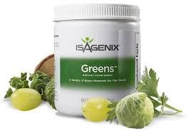 Isagenix Greens Isagenix Greens features nutrition from over 30 vegetables, herbs, and botanicals, such as ginkgo biloba leaf, green tea extract, and grape seed extract, to promote overall health