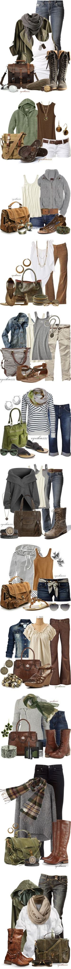 earthy colors and comfy clothes.