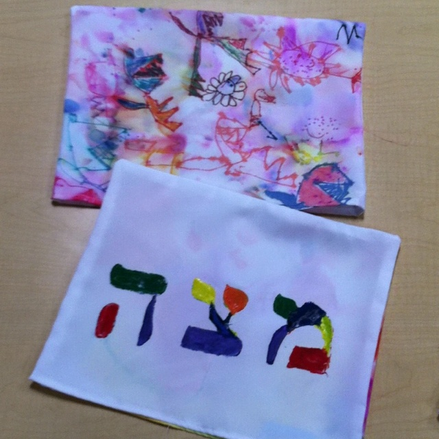 Matzah Covers (front...fabric paint and stencil, back...markers and alcohol)- Chabad Burbank Preschool 2012
