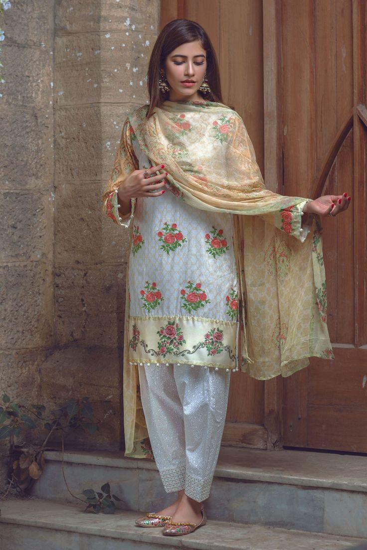 Shirt Fabric Embroidered Lawn Shirt Shalwar Trouser