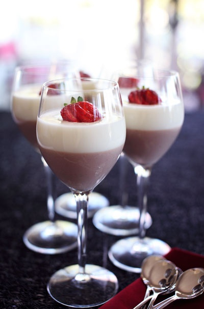 I use any of the amazing Your Inspiration at Home Chocolate Powders to create these lovely Chocolate Panna Cotta Wine Glasses.