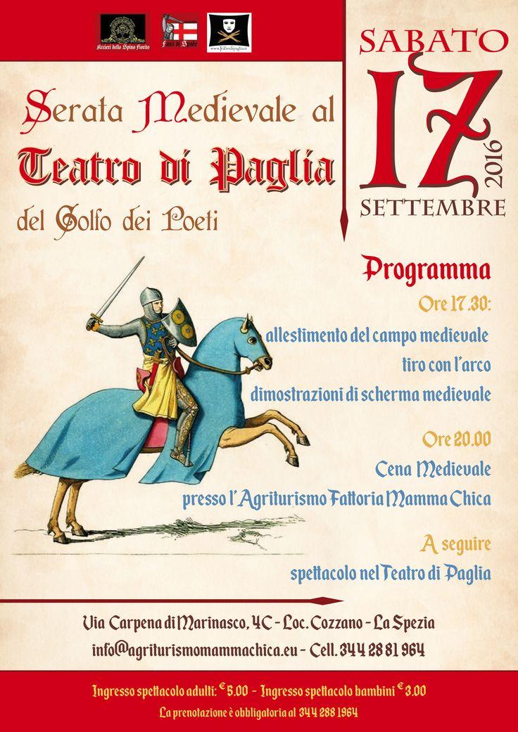 Sabato 17 Settembre alle ore 17.30 a grande richiesta al Teatro di Paglia replichiamo la serata Medievale! A intrattenerci ci sarà l'Associazione Culturale Fanti di Spade 1280-1310 che inizierà con l'allestimento del campo medievale, ci farà poi vedere le dimostrazioni di scherma medievale e il tiro con l'arco.