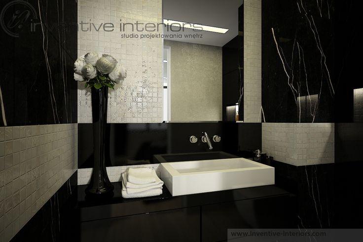 Projekt apartamentu 130m2 Inventive Interiors - mała czarna łazienka - masa perłowa w łazience
