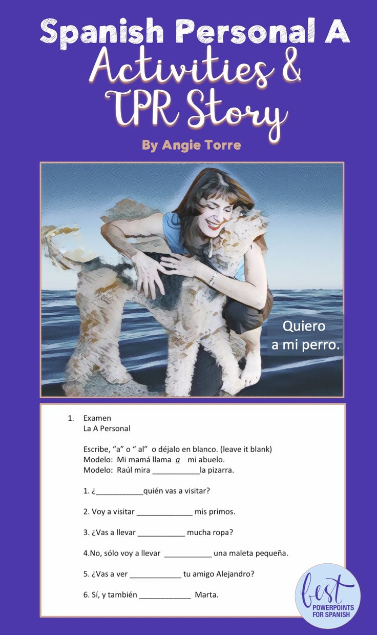 """Do you need some activities and comprehensible input to supplement your lesson on the, """"a personal""""? After teaching the personal """"a"""", these activities provide comprehensible input, practice, and assessment. Students also practice questions with, """"¿Quién?; ¿A quién?; ¿A quiénes?"""" Click here to see details."""