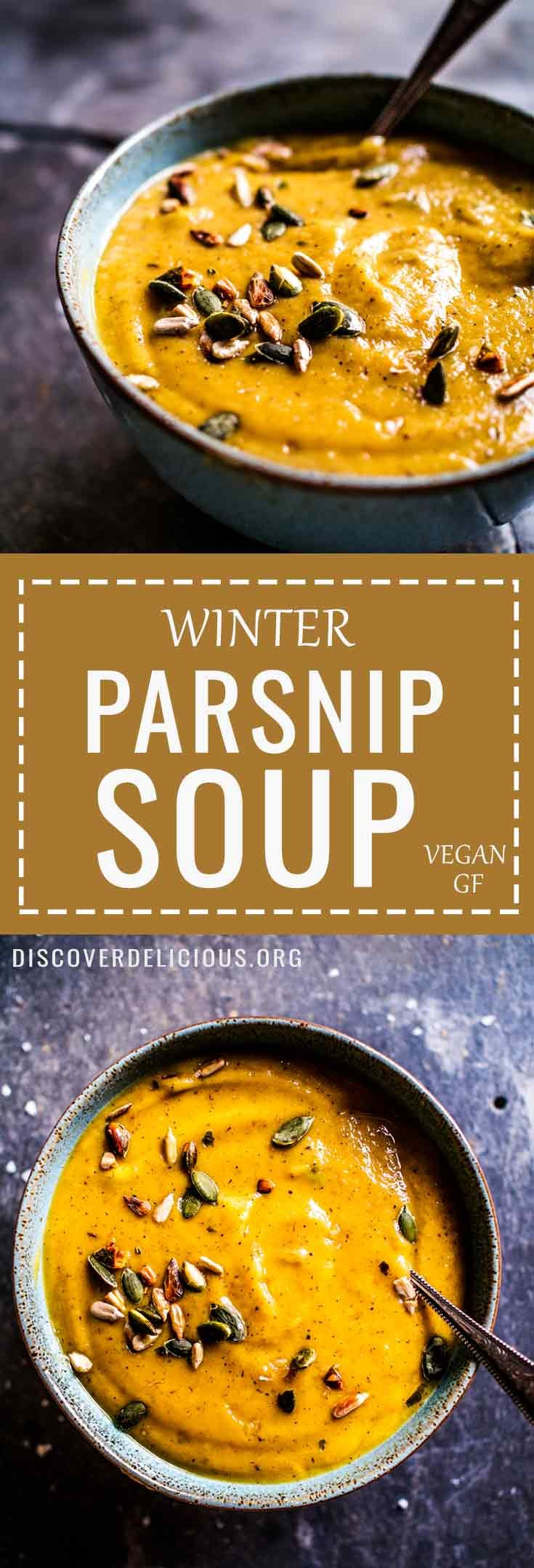 Creamy Winter Parsnip Soup Recipe w/ toasted pumpkin & sunflower seeds. Vegan + GF too! #vegan #creamy #simple #dairyfree #leek #winter # #recipe #recipes #healthy #easy #gluten #free